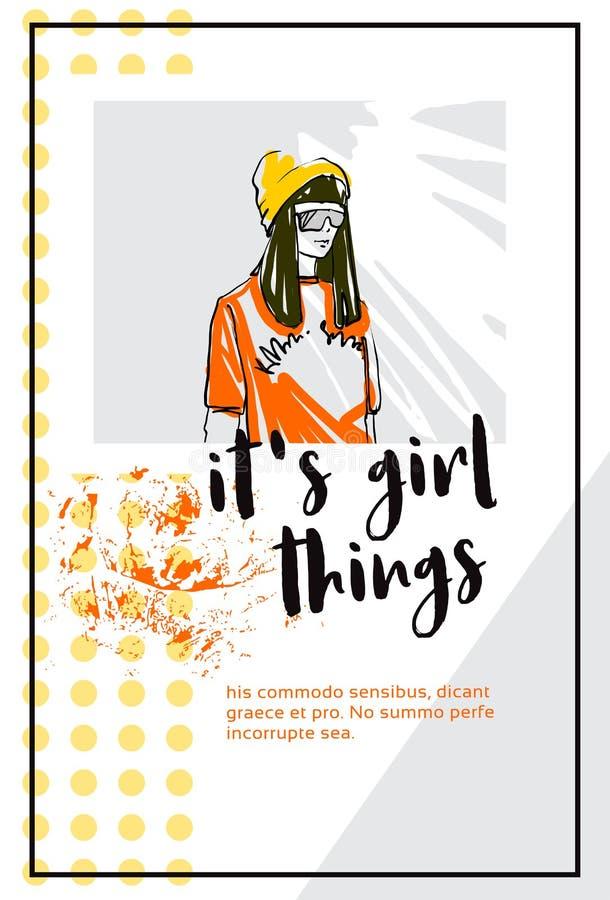 Hipsterkvinnan i lycklig flickastående för hatt är det flickasakerbegreppet som den vertikala affischen skissar kopieringsutrymme vektor illustrationer