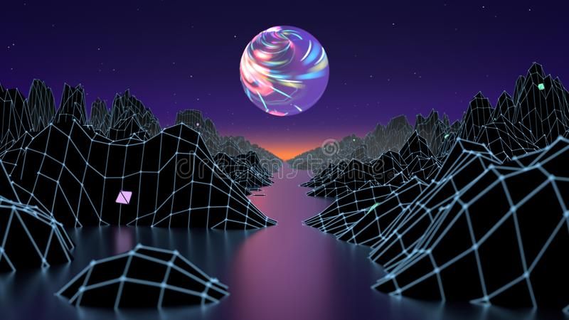 Hipsterlek från futuristisk illustration för 80-talcyber Bild för våg för landskap för Digital oldschool modig med månen och utry royaltyfri illustrationer