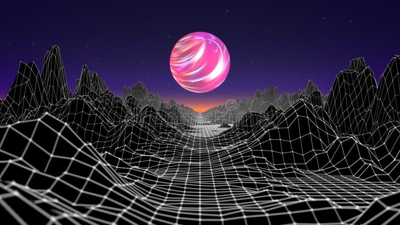 Hipsterlek från futuristisk illustration för 80-talcyber Bild för våg för landskap för Digital oldschool modig med månen och utry stock illustrationer