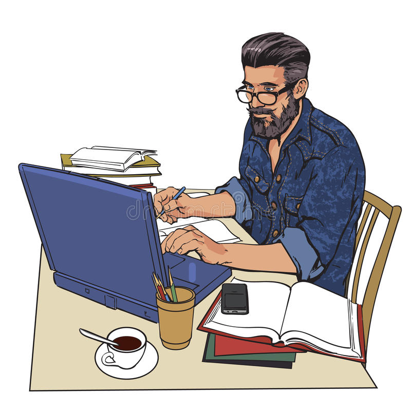 Hipstermannen i jeans klår upp på arbete Ett stort antal dokument vektor illustrationer