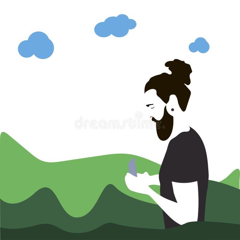 Hipstermannen med ett skägg som använder en smartphone på bakgrunden av, parkerar royaltyfri illustrationer