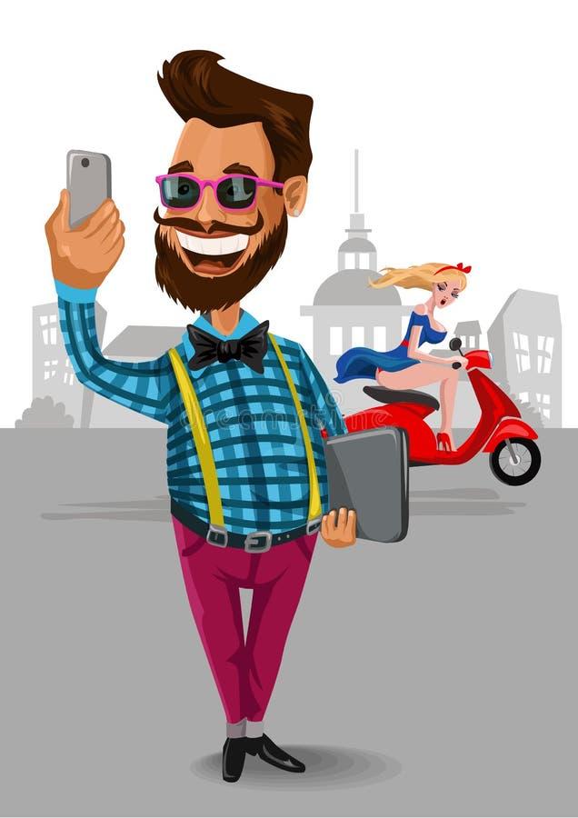 Hipstermannen med smartphonetelefonen gör fotoet av vektor illustrationer