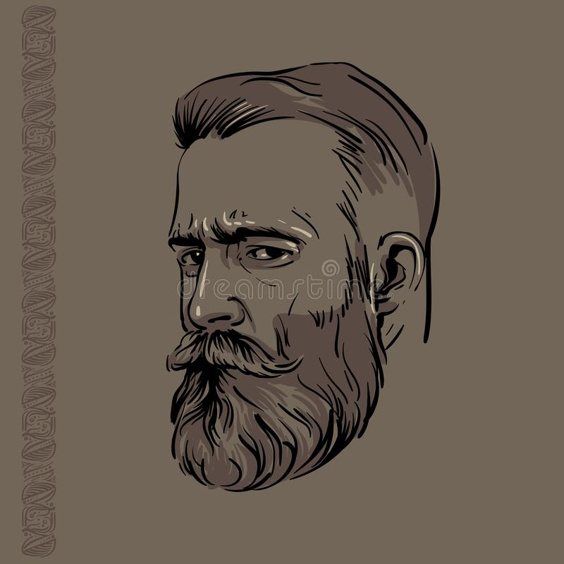 Hipstermanstående med skägget och modellen illustration stock illustrationer