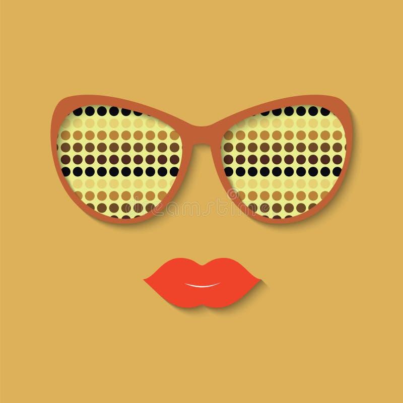 Hipstermeisje en zonnebril vector illustratie