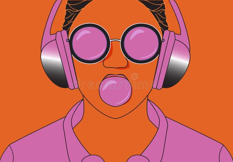 Hipstermeisje het luisteren aan muziek op hoofdtelefoons en kauwt herkauwmassa vector illustratie