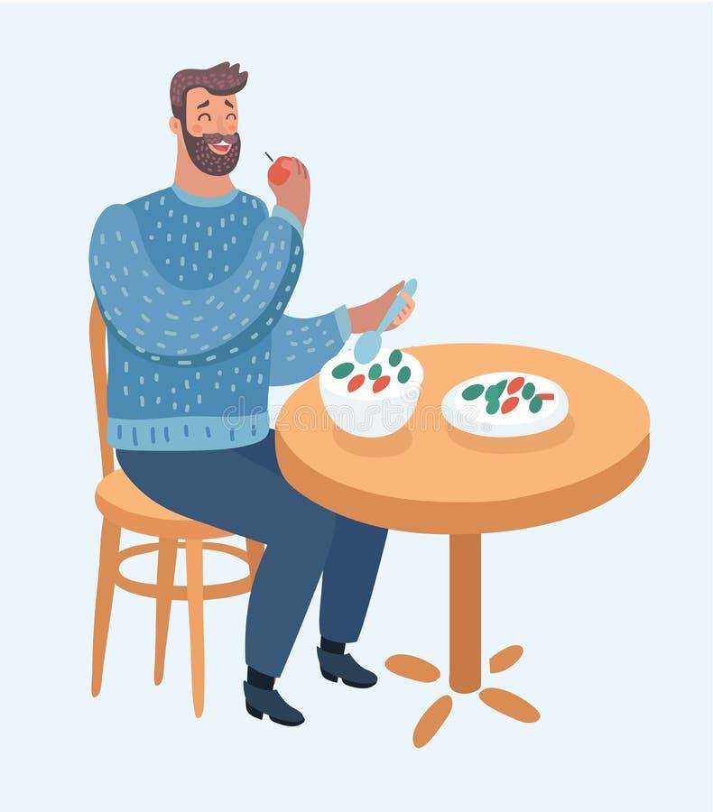 Hipstermens die gezonde plantaardige salade eten royalty-vrije illustratie
