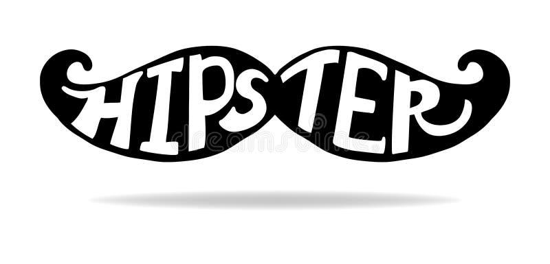 Hipstermustaschvektor i hand dragen artsy svart kontur med vit typografi vektor illustrationer