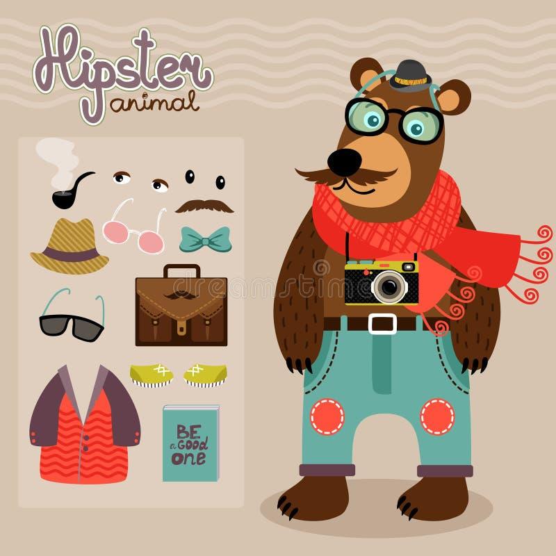 Hipsterpacke för djur nallebjörn stock illustrationer