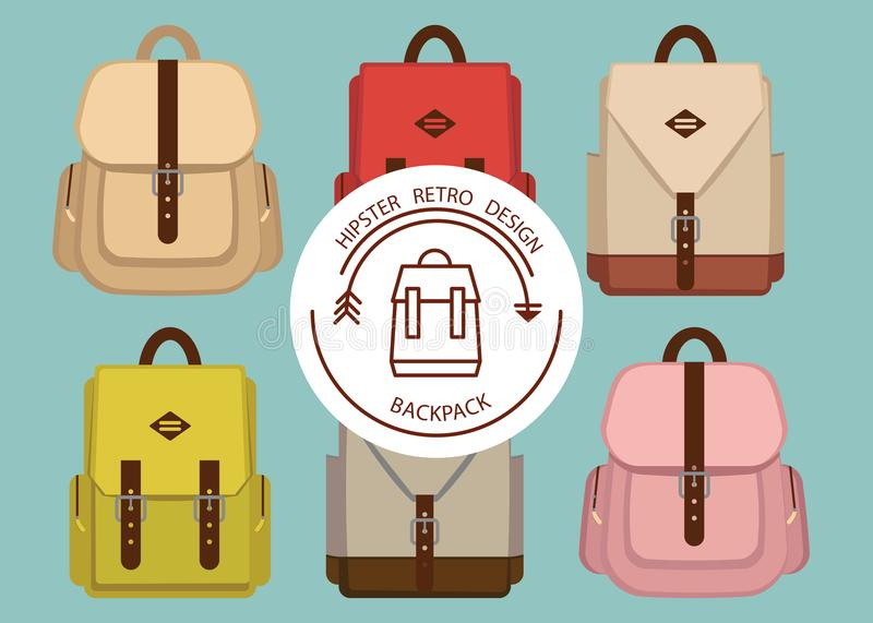 Hipsterpackemodellen med den moderiktiga skolan för retro mode vandrar, illustrationen tyg stil, backpac för modetappningkanfas royaltyfri illustrationer