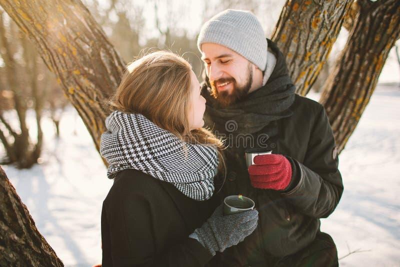 Hipsterpar i vinter parkerar med varmt te från termoset royaltyfri foto