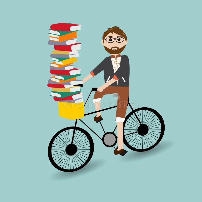 Hipsterpersonenvervoer de fiets royalty-vrije illustratie