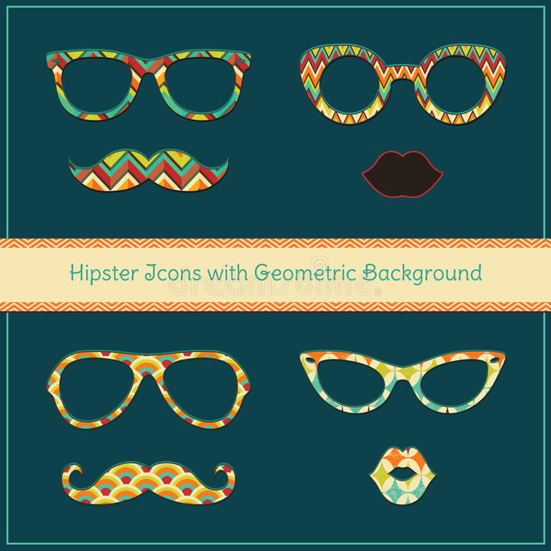 Hipsterpictogrammen met Geometrische Grunge-Achtergrond royalty-vrije illustratie