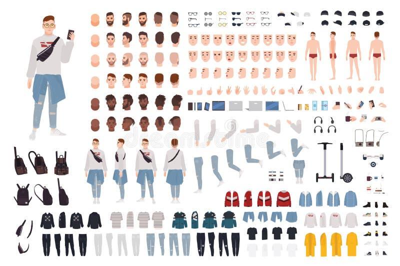 Hipsterpojke i moderiktig kläderkonstruktöruppsättning eller DIY-sats Grabb i gatastildr?kt Packe av kroppsdelar och stock illustrationer