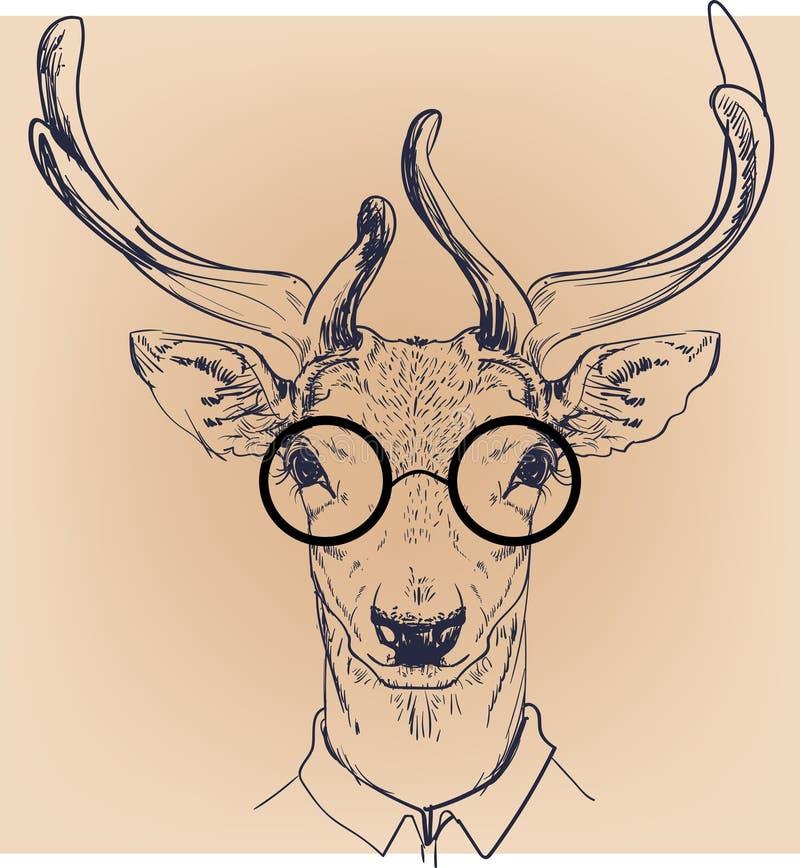 Hipsterportret van herten met glazen vector illustratie