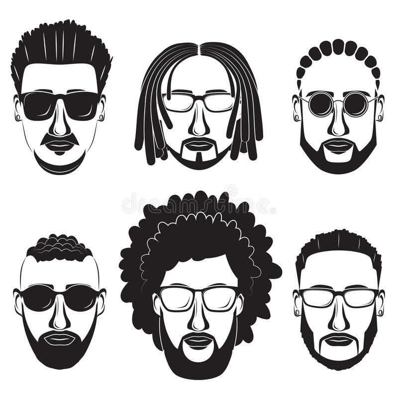Hipsters bearded african men. With different hairstyles, mustaches, beards on white background vector illustration