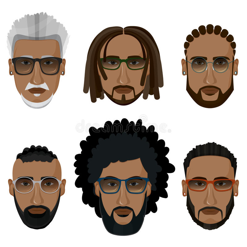 Hipsters bearded african men. With different hairstyles, mustaches, beards on white background royalty free illustration