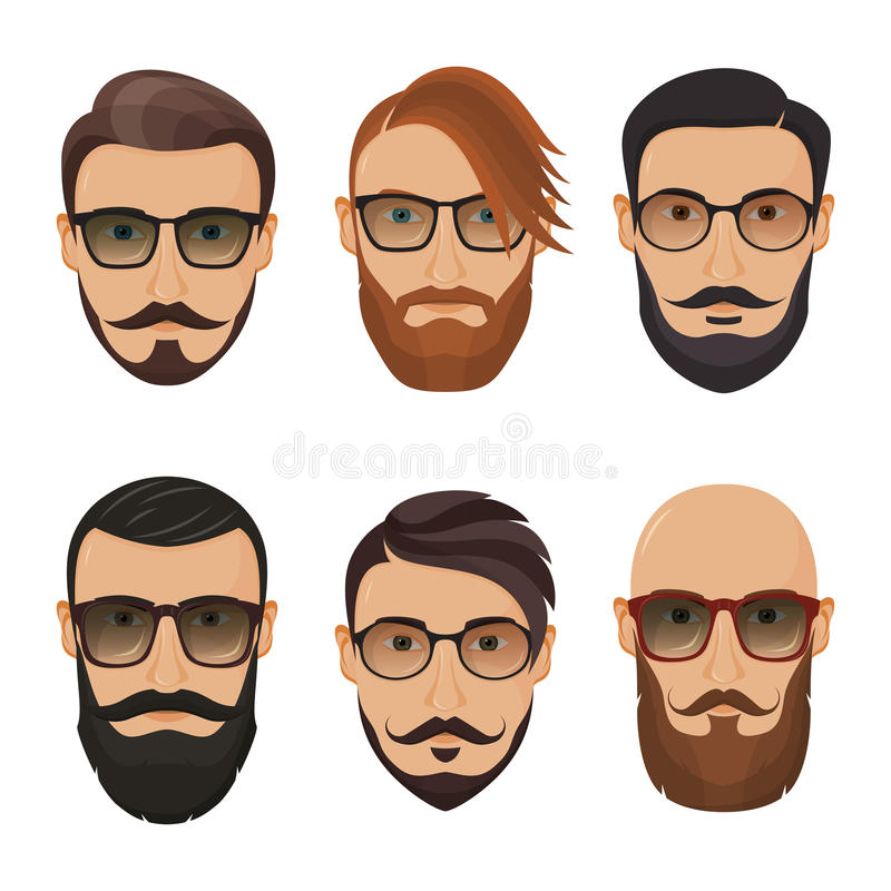 Hipsters bearded men with different hairstyles, mustaches, beard. S isolated on white background royalty free illustration