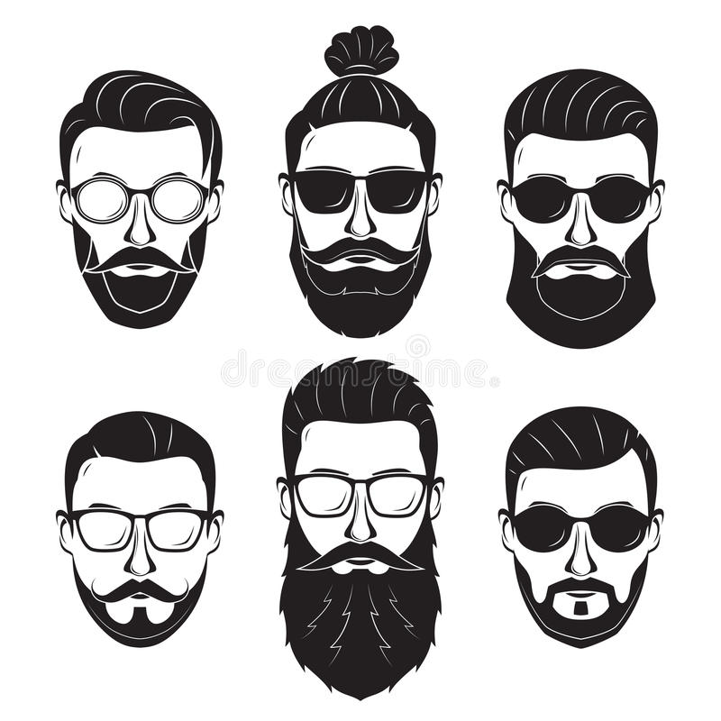Hipsters bearded men with different hairstyles mustaches beards. Isolated on white background royalty free illustration
