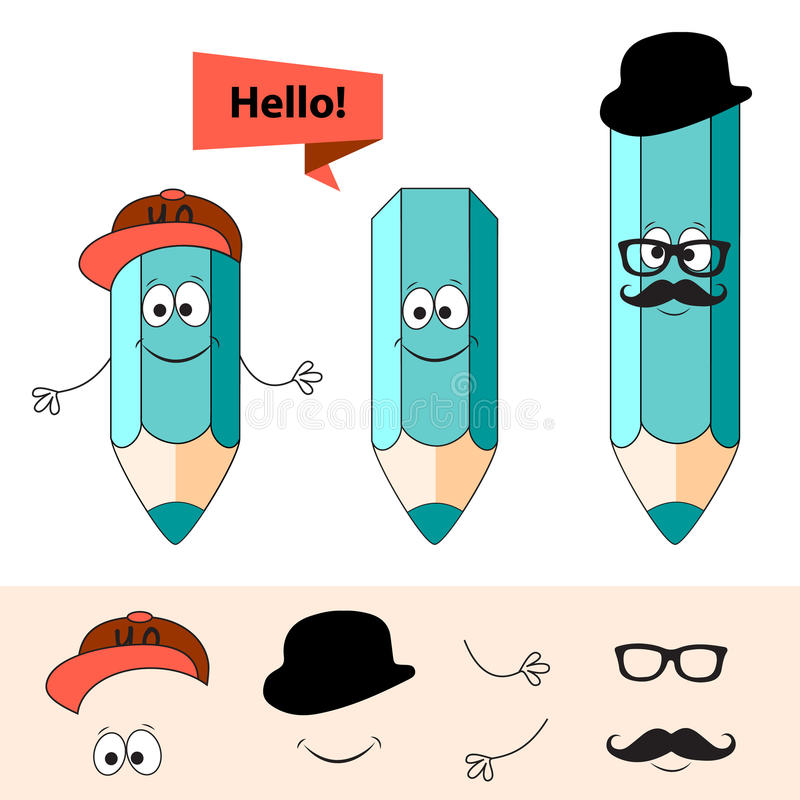 Hipsters cartoon pencil stock illustration