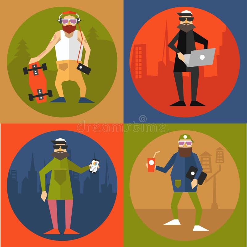 Hipsters in moderne vlakke stijl royalty-vrije illustratie