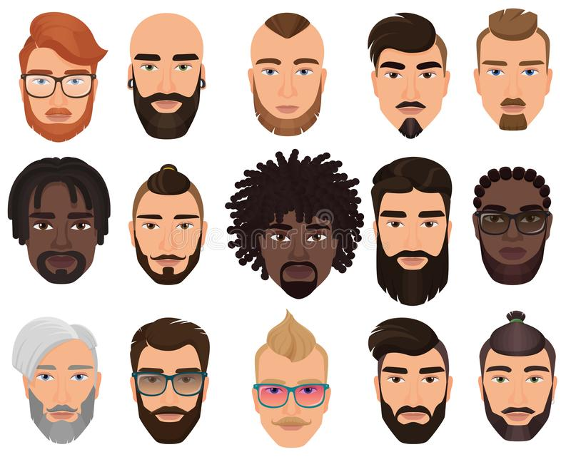 Hipsters stylish bearded men with different color hairstyles, mustaches, beards isolated. Hipsters stylish bearded men with different color hairstyles royalty free illustration