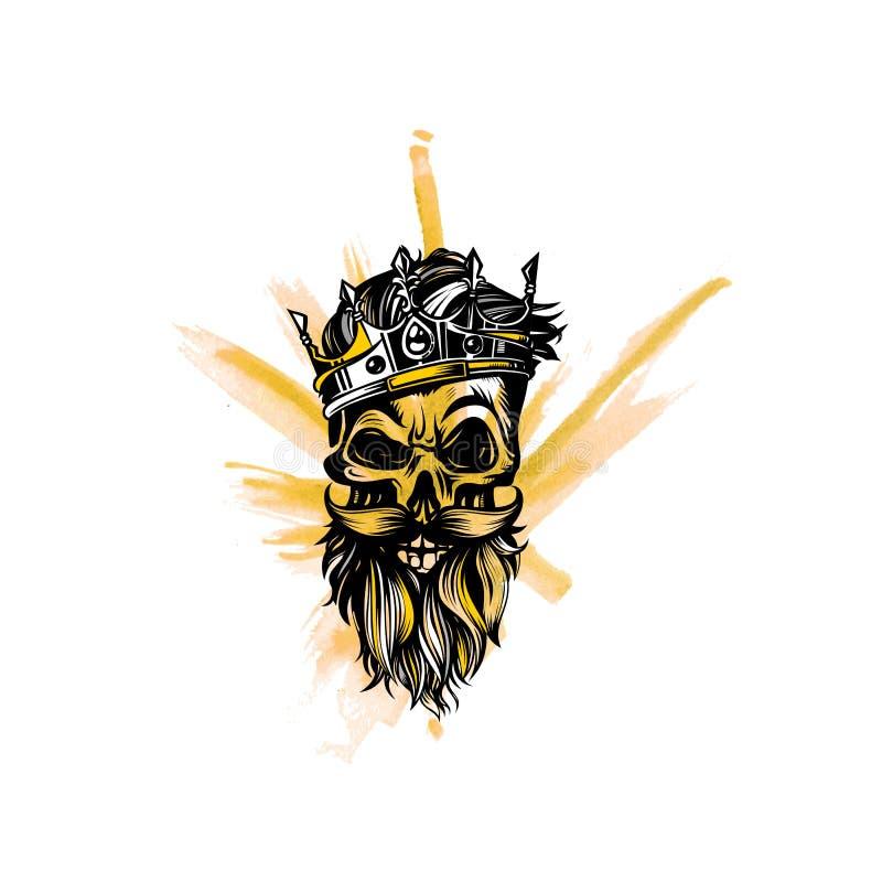 Hipsterschedel met baard en snor, kroon, koning, vectorillustratie royalty-vrije illustratie