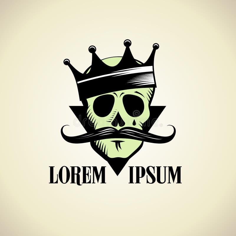 Hipsterschedel met kroonembleem royalty-vrije illustratie