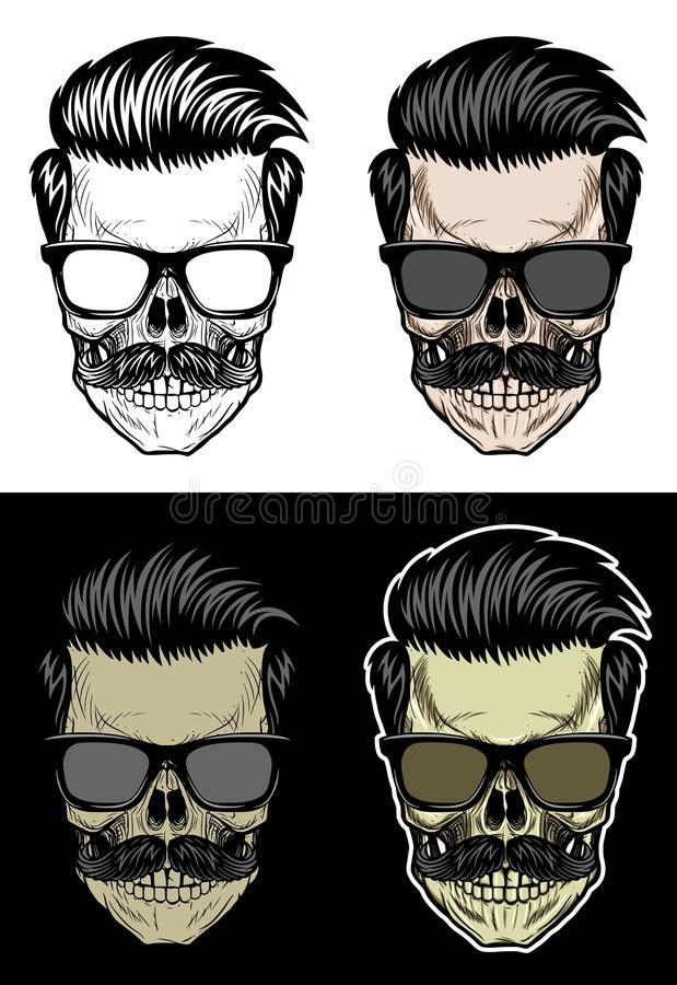 Hipsterskalle med bärande solglasögon för hår och för mustasch vektor illustrationer