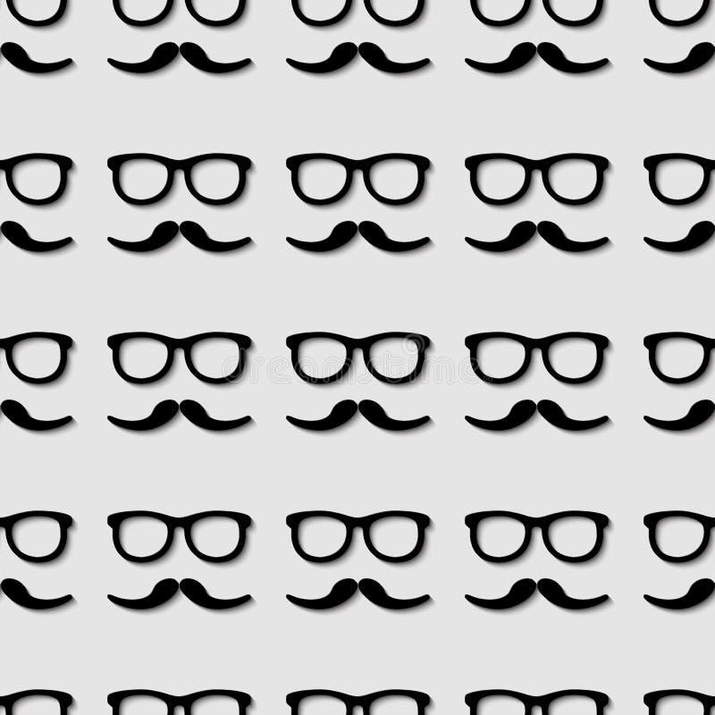 Hipstersolglasögon och sömlös modell för mustasch stock illustrationer