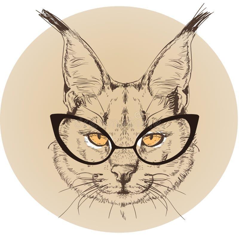 Hipsterstående av bobcaten med exponeringsglas vektor illustrationer