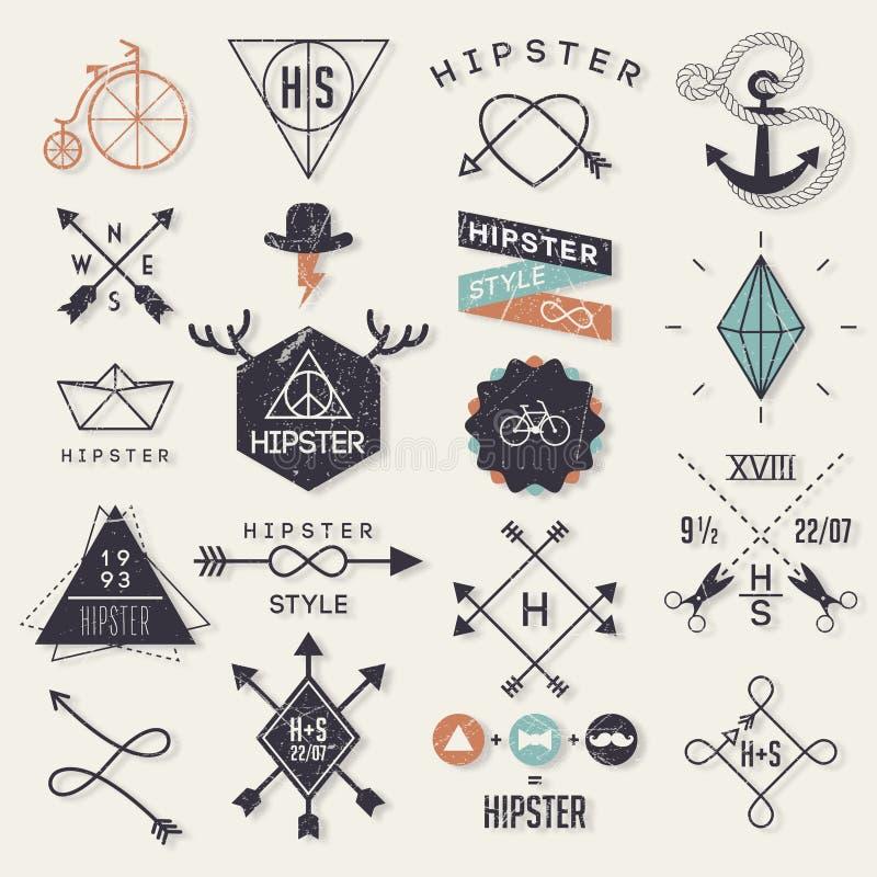 Hipsterstilbeståndsdelar royaltyfri illustrationer