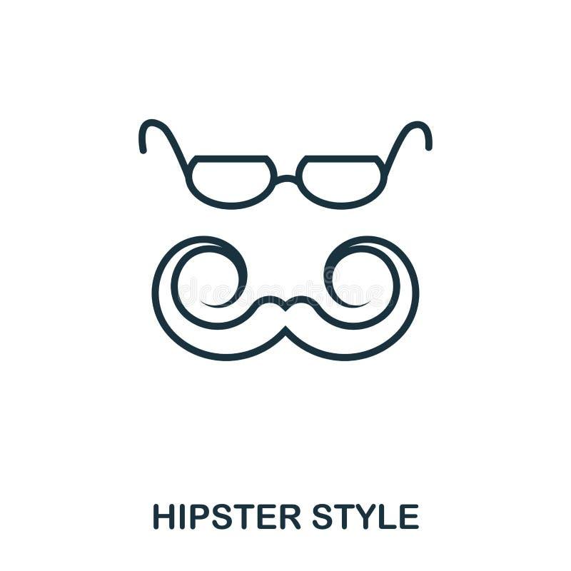 Hipsterstilsymbol Plan stilsymbolsdesign Ui Illustration av hipsterstilsymbolen pictogram som isoleras på vit klart vektor illustrationer