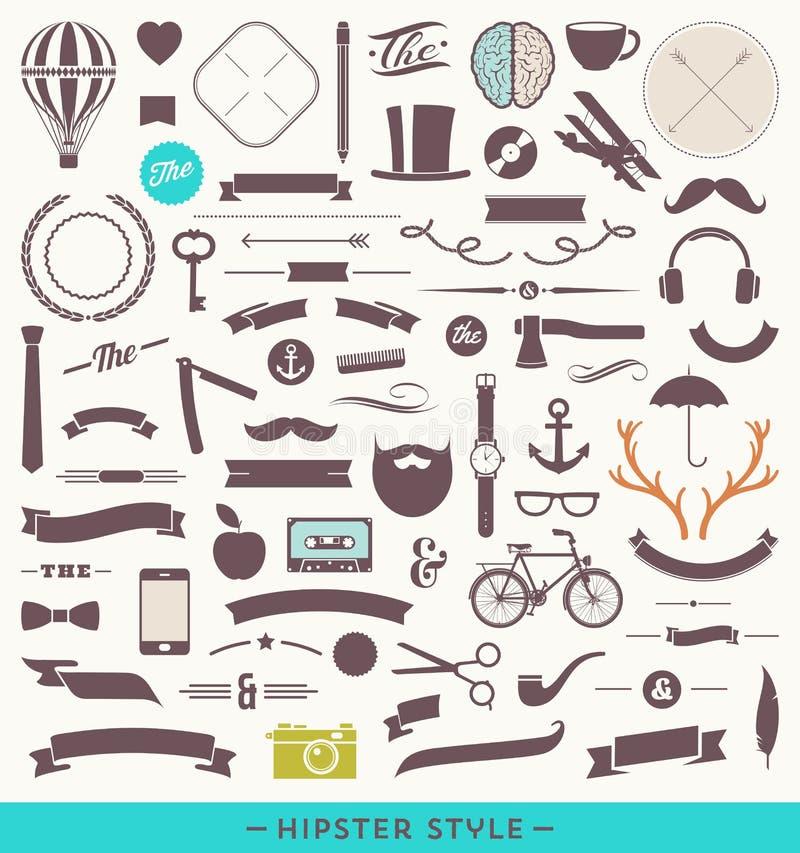 Hipsterstiluppsättning vektor illustrationer