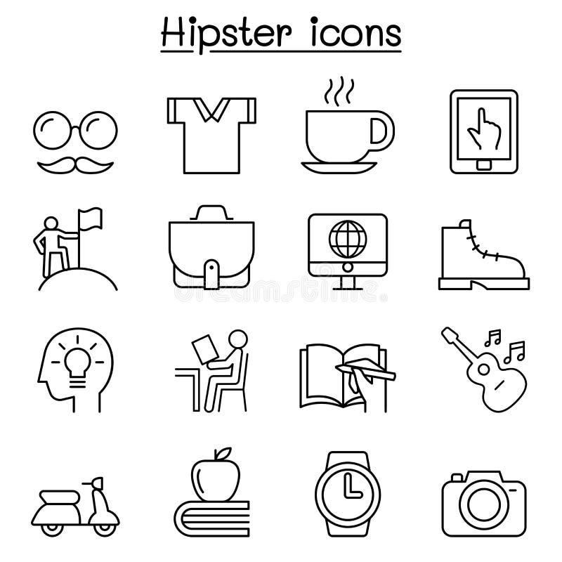 Hipstersymbolsuppsättning i den tunna linjen stil vektor illustrationer