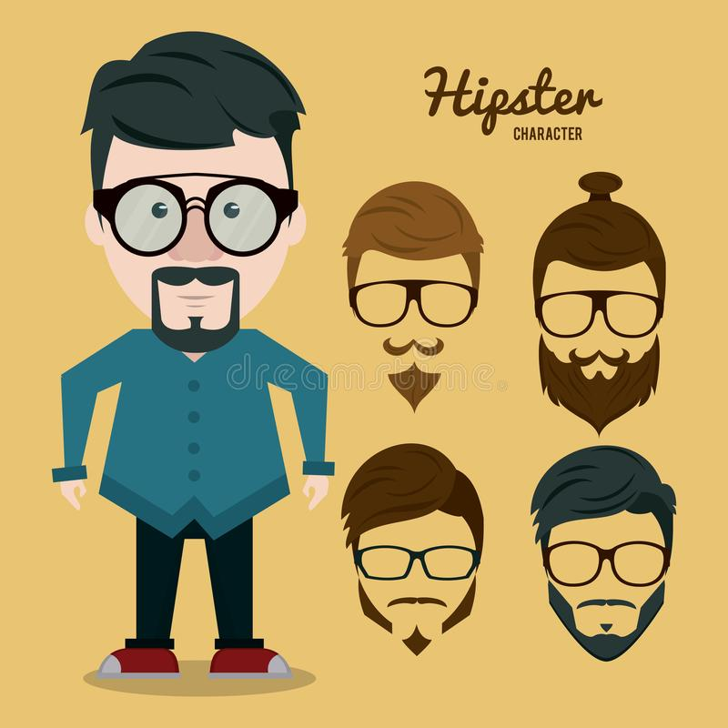 Hipsterteckentecknad film royaltyfri illustrationer