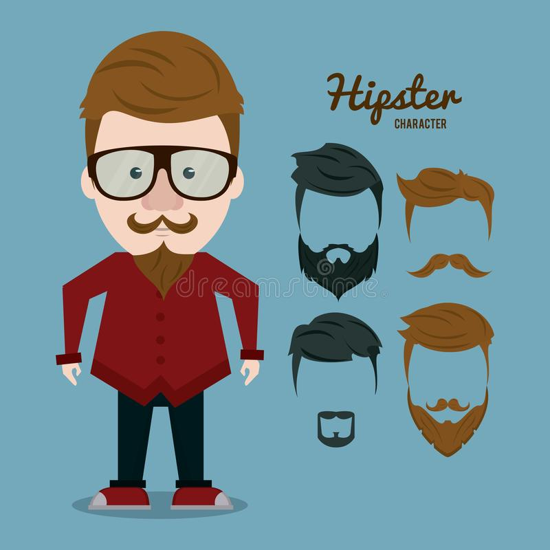 Hipsterteckentecknad film stock illustrationer