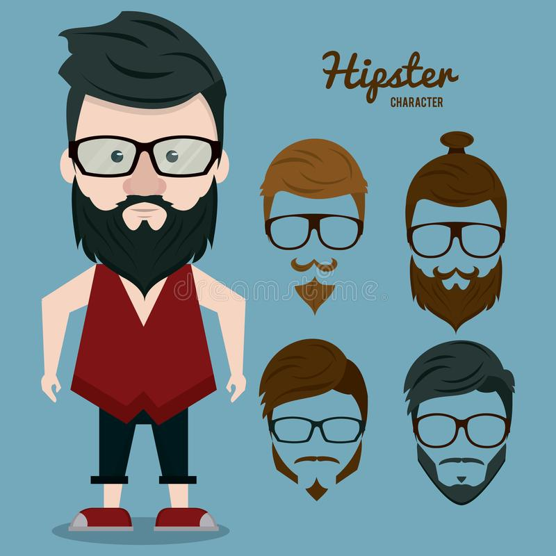 Hipsterteckentecknad film vektor illustrationer
