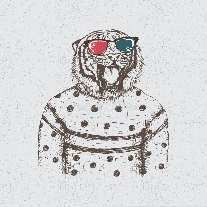 Hipstertijger gekleed in de blouse royalty-vrije illustratie