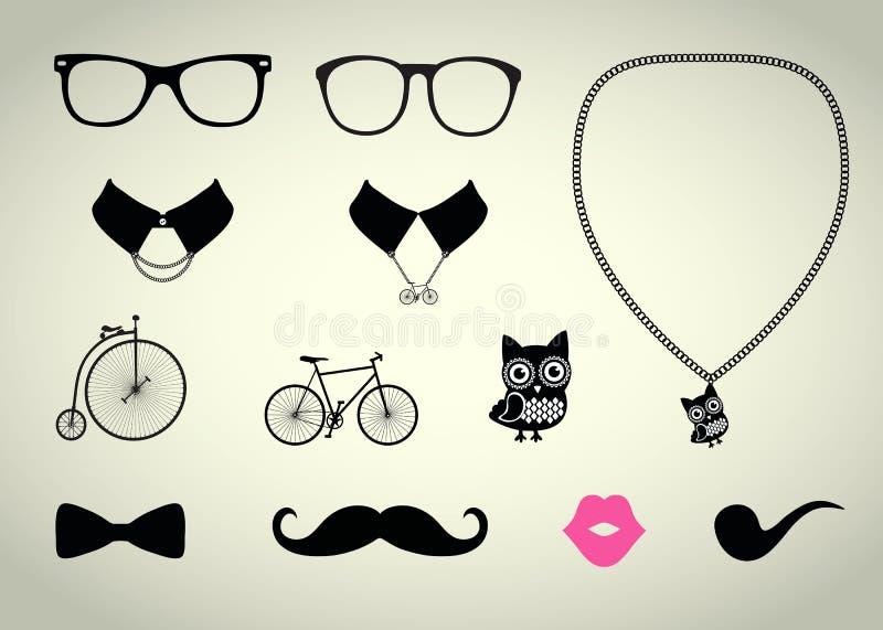 Hipstertillbehöruppsättning stock illustrationer