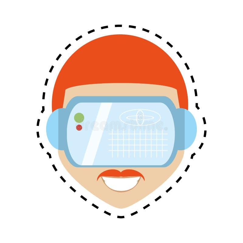 hipter γραμμή περικοπών σχεδίου τεχνολογίας γυαλιών εικονικής πραγματικότητας ατόμων απεικόνιση αποθεμάτων
