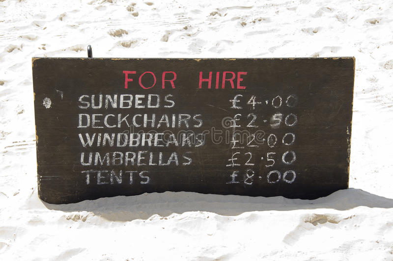 For hire on the beach. Things you can't go without on your summer holiday stock image