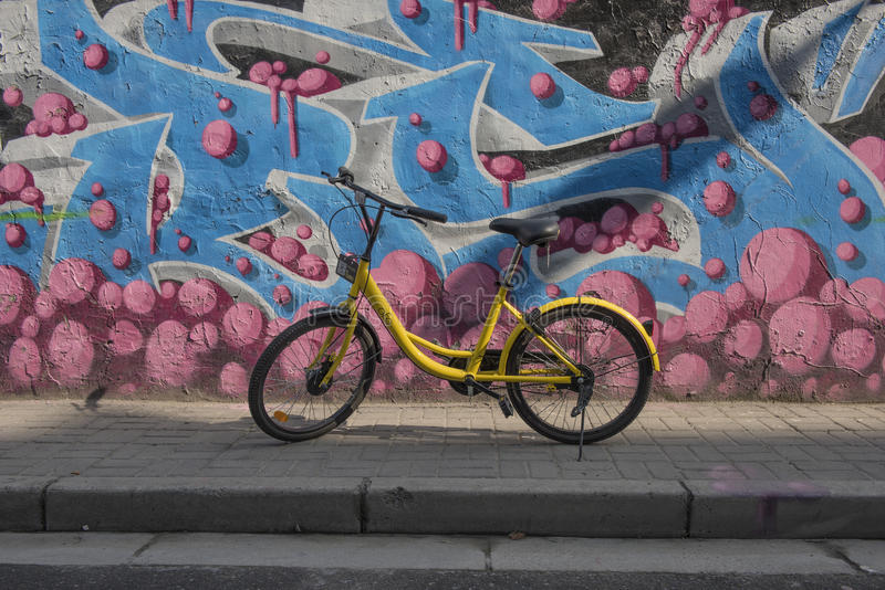 Hire bicycle in the street, Shanghai China.  stock photos