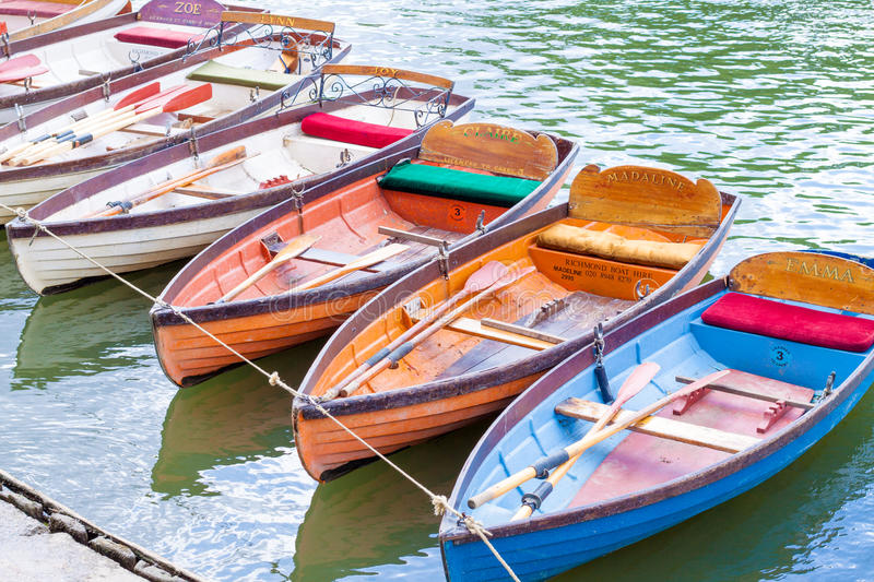 Hire boats on a river stock photo