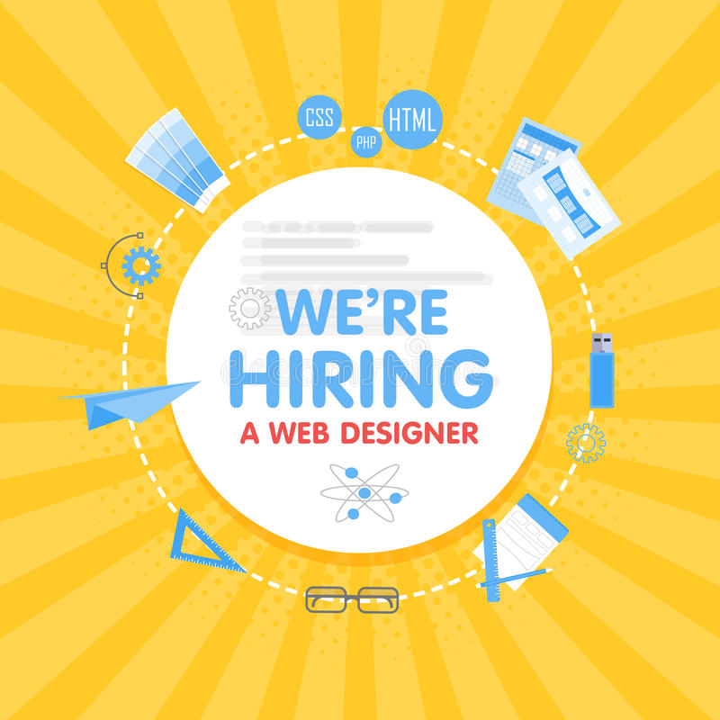 We hire a web designer. Megaphone concept vector illustration. Banner template, ads, search for employees, hiring stock illustration