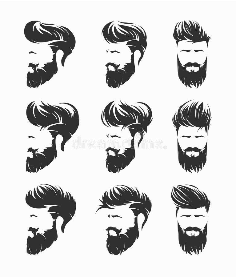 Hirecut dos penteados dos homens com a cara do bigode da barba ilustração royalty free