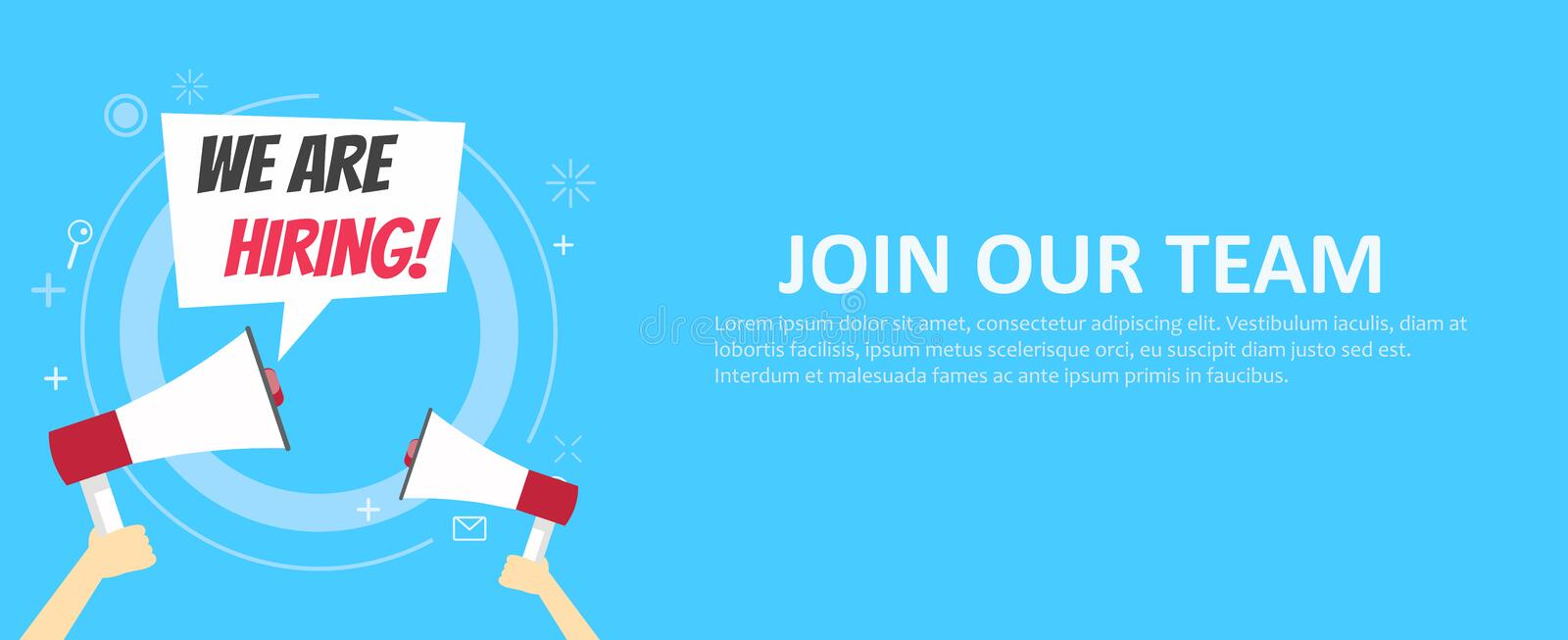 We are hiring banner. Join our team. Blue background and hands holding a megaphone. Vector flat illustration stock illustration