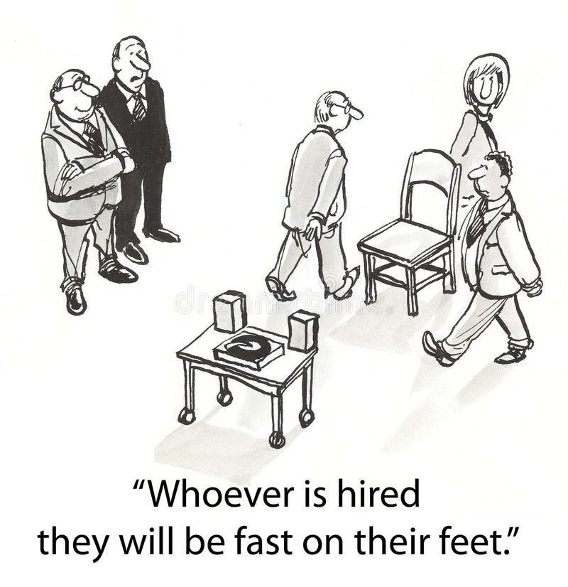 Hiring chairs. Applicants must walk around chairs stock illustration