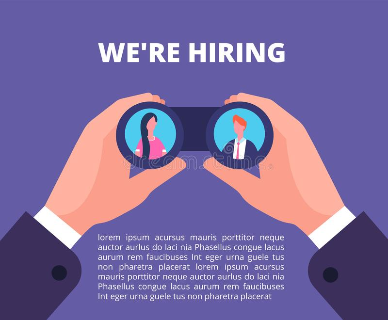 We are hiring concept. Businessman, recruiter hands holding binocular with employees in lenses. Recruiting vector poster vector illustration
