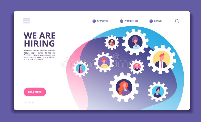 We are hiring concept. Finding employee. Hr job seeking. Open vacancy and recruitment vector banner royalty free illustration