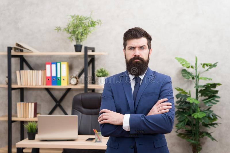 Hiring concept. Recruitment department. Job interview. Welcome team member. Recruiter professional occupation. HR. Manager. Man bearded manager recruiter in stock photography